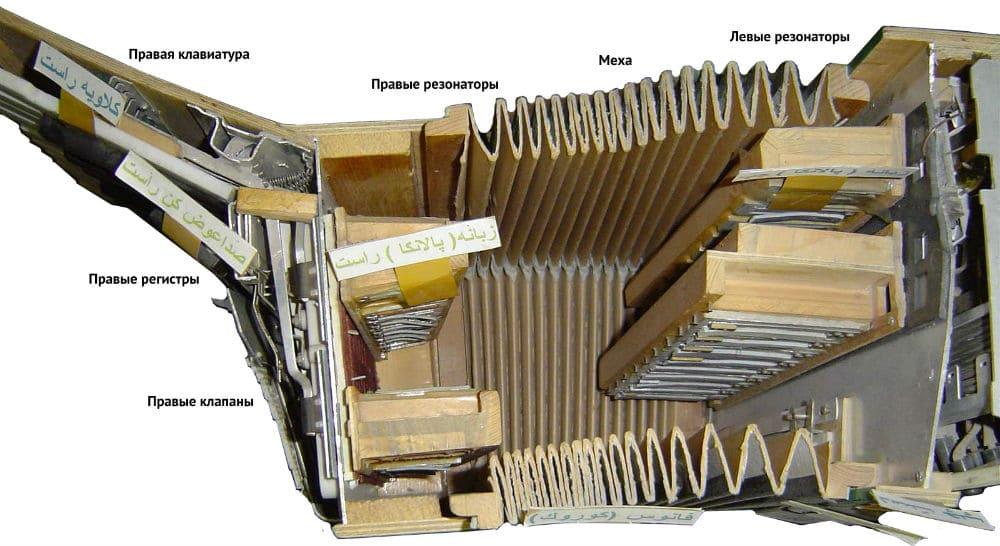 Устройство аккордеона