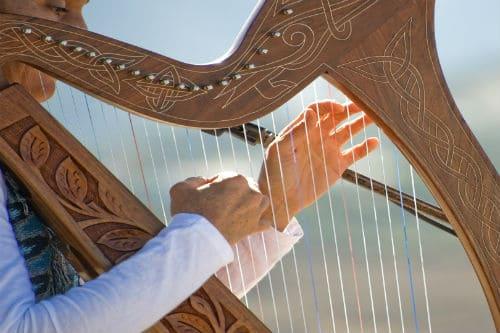 Арфист играет на арфе