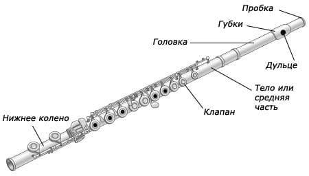 Строение флейты