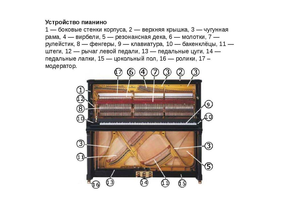 Устройство фортепиано