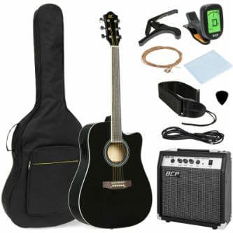 Электроакустическая гитара с комплектом вспомогательного оборудования